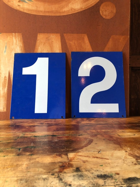 Vintage Gas Station Number, Double Sided Blue And White Sign Number, Lucky Number 1, Lucky Number 2, Number Decor, Number Wall Decor