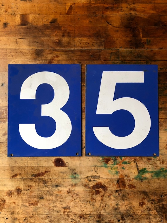 Vintage Gas Station Number, Double Sided Blue And White Sign Number, Lucky Number 3, Lucky Number 5, Number Decor, Number Wall Decor