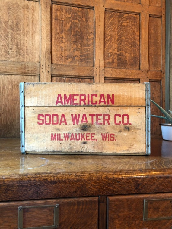 Vintage American Soda Water Crate, Vintage Wood Crate, Milwaukee Wisconsin, Rustic Industrial Storage