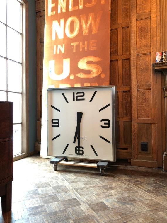 Giant Vintage Gymnasium Clock, Light Up Clock, Large Wall Clock, Clock Decor, Electric Clock