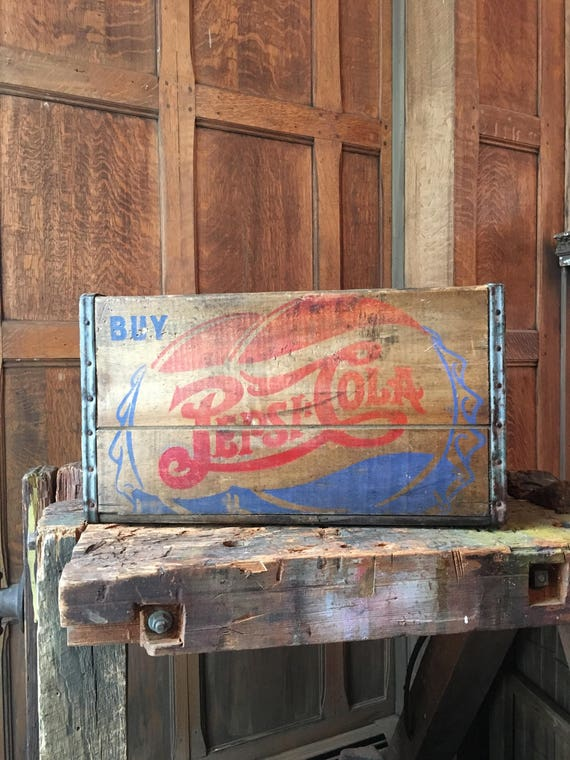 Vintage Pepsi Crate, Large Wood Double Dot Pepsi Crate, Wooden Storage Crate, Vinyl Crate, Storage Box