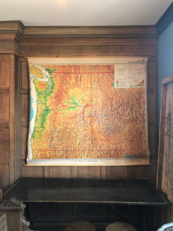 HUGE Vintage Map, Pacific Northwest Pull Down Map Chart, Vintage School Map Wall Hanging, Vintage Map Wall Art