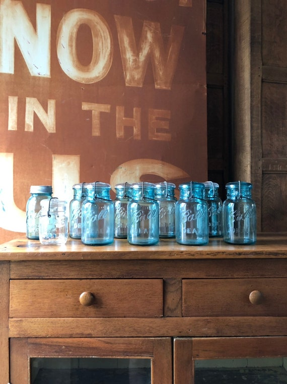Vintage Ball Jars, Set Of Ten With Zinc And Glass Lids, Blue Ball Mason Jar, Rustic Home Decor