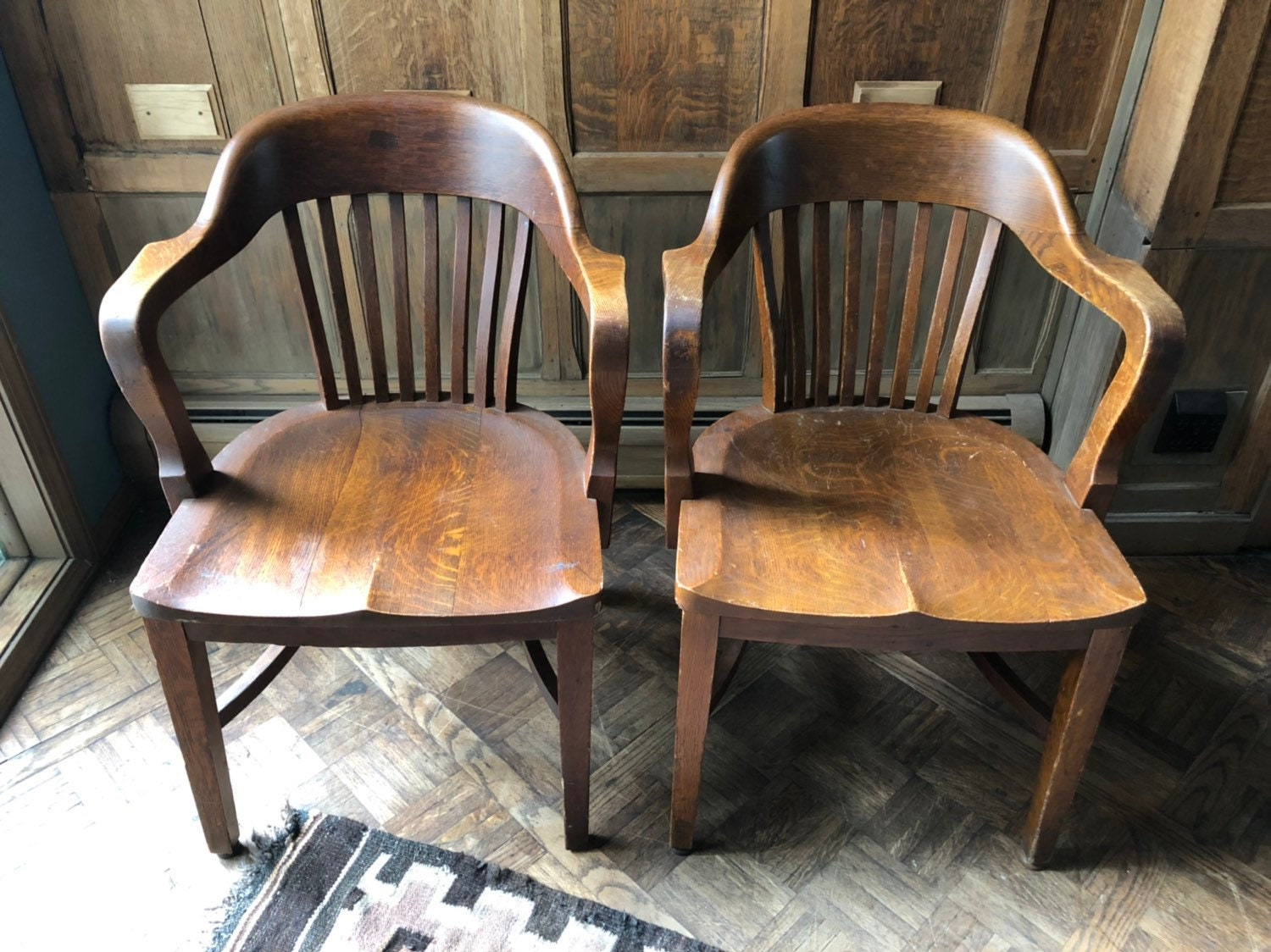 Pair Of Oak Jury Chairs Vintage Bankers Chair Antique Oak Library Chairs Pair Of Wood Desk Chairs