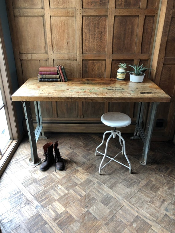 Industrial Workbench Table, Industrial Desk, Distressed Workbench Table, Butcher Block Top, Vintage Wood and Metal Desk