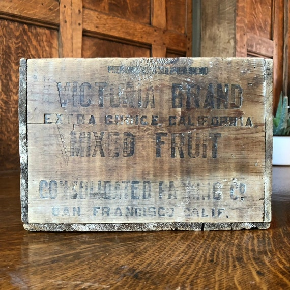 Vintage Wood Crate, Small Rustic Wood Fruit Box, Victoria Brand Mixed Fruit, San Francisco, Rustic Industrial Storage