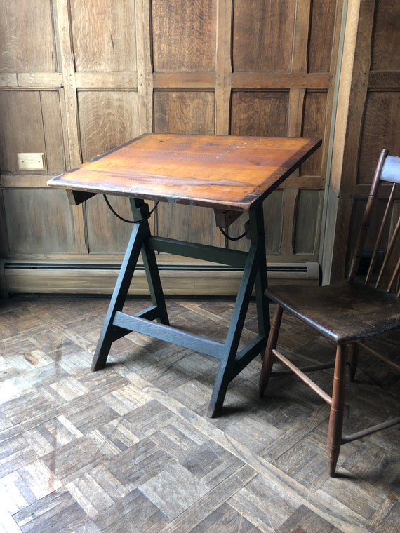 Small Antique Drafting Table, Artist Table, Vintage Kids Desk, Childrens Drafting Table, Antique Side Table, Entryway Table