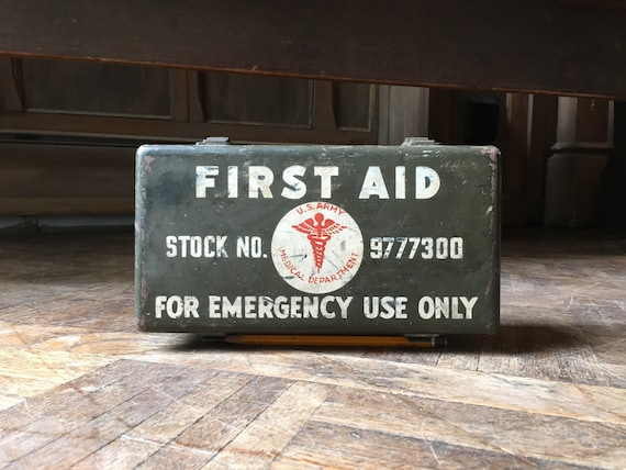 Vintage First Aid Kit, WWII U.S. Army Medical Department Military First Aid Kit, Waterproof Storage Box
