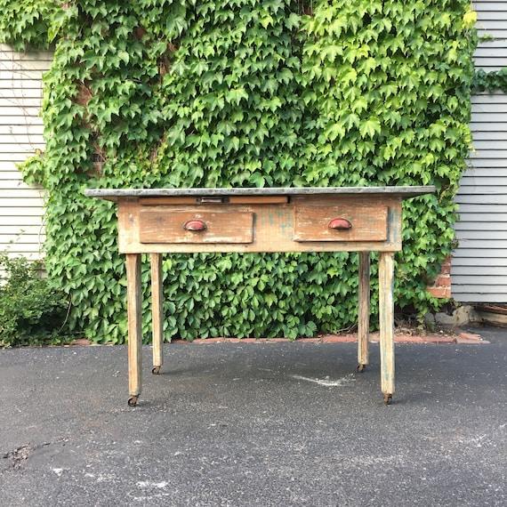 zinc top kitchen work table antique work table metal top