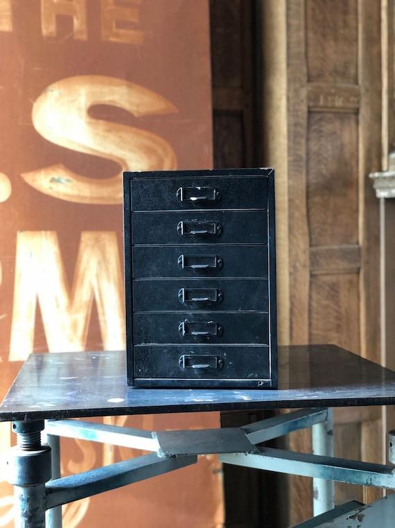 Vintage Metal Drawer Unit, Metal Parts Bin, Black Metal Drawers, Desk Top Decor, Office Storage