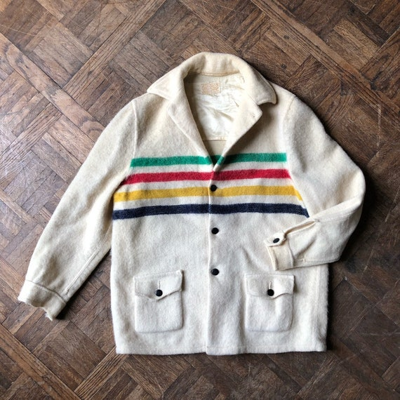 Vintage Hudson Bay Jacket, Vintage Hudson Bay Coat, Hudson Bay Point Blanket, Vintage Wool Jacket
