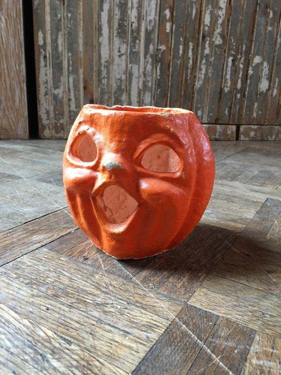 1930s Jack O Lantern, Paper Mache Pumpkin, Vintage Halloween Decor, Antique Paper Mache Pumpkin Candy Holder