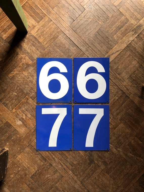 Vintage Gas Station Number, Double Sided Blue And White Sign Number, Lucky Number 6, Lucky Number 7, Number Decor, Number Wall Decor