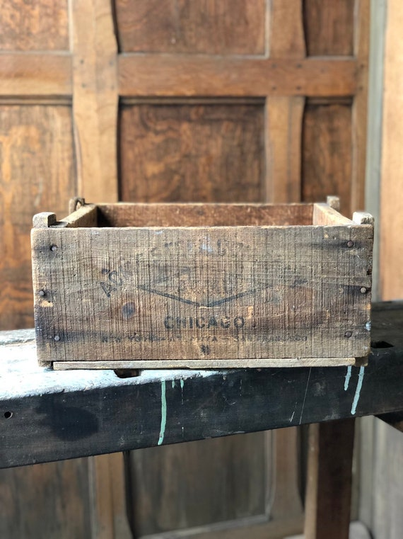 Rustic Wood Crate, ACME Steel Chicago, Vintage Industrial Storage Decor