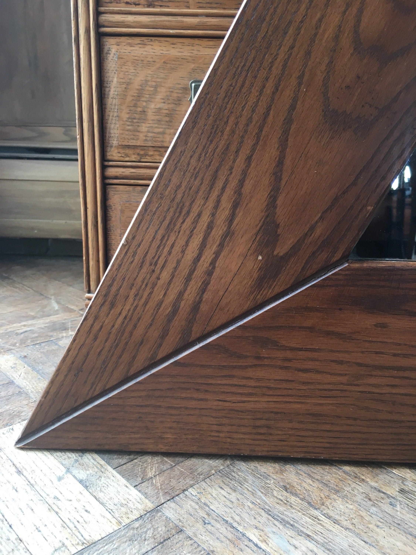 Large Triangle Mirror Vintage Geometric Mirror Large Oak