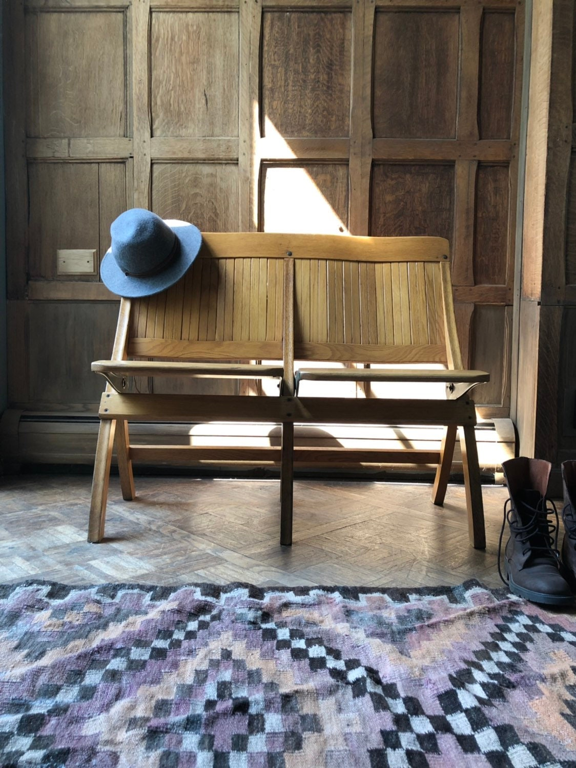 Super Vintage Folding Bench Wood Theater Seats Church Pew Bench Entryway Seating Folding Chairs Caraccident5 Cool Chair Designs And Ideas Caraccident5Info