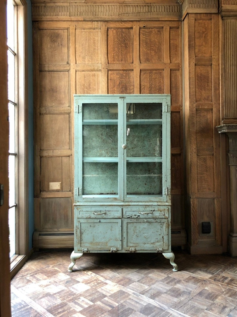 LARGE Antique Medical Cabinet, Industrial Medical Cabinet, Metal And Glass  Display Cabinet, Chippy Cabinet