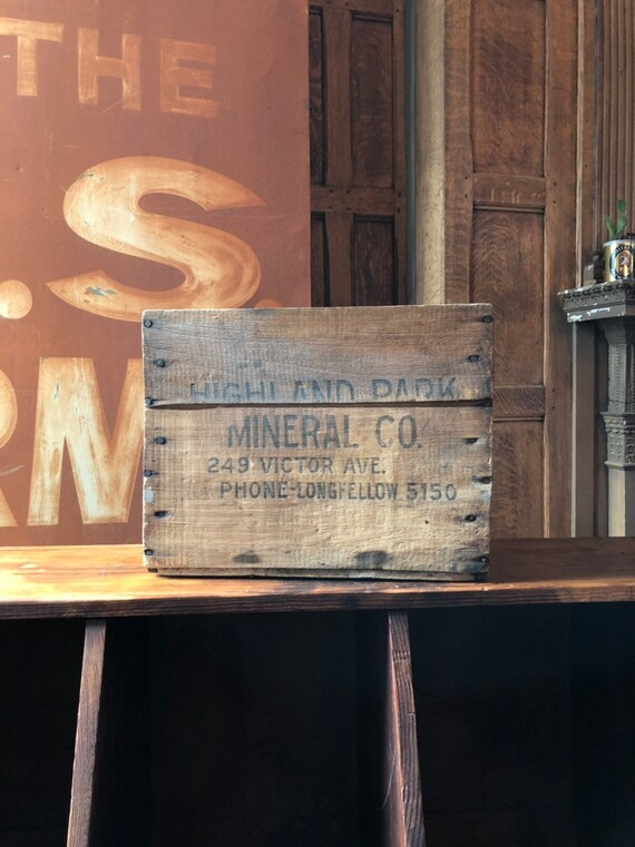 Vintage Wood Crate, Highland Park Mineral Co. Wooden Box Crate Storage, Rustic Industrial Decor, Vinyl Record Storage