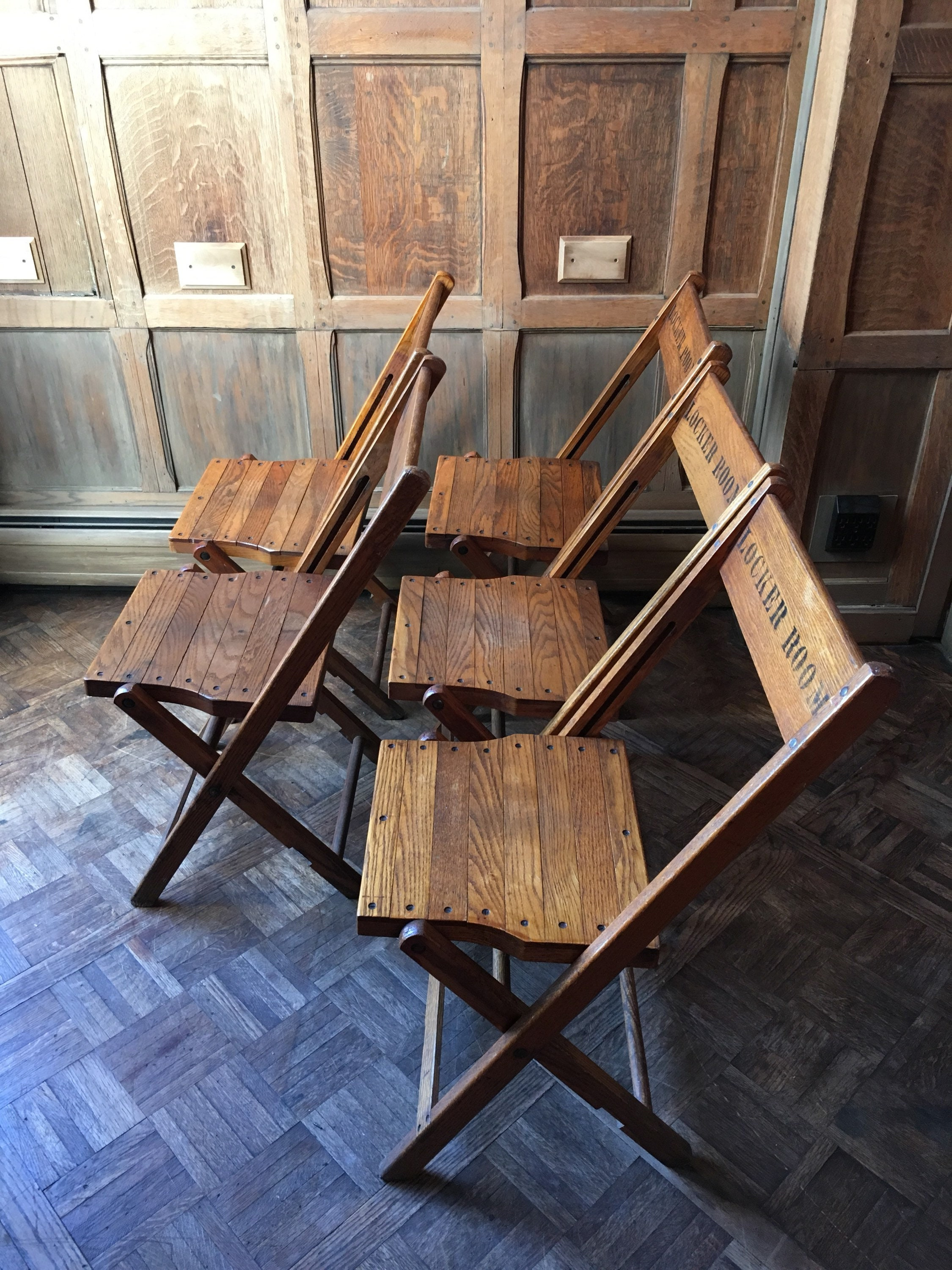 Enjoyable Vintage Locker Room Folding Chairs Set Of 5 Wood Folding Lamtechconsult Wood Chair Design Ideas Lamtechconsultcom