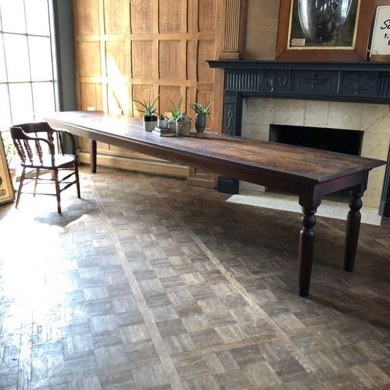 HUGE 12 Foot Farm Table, Antique Farmhouse Table, Old Factory Work Table, Wedding Head Table, Conference Table