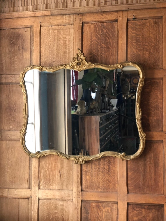 Large Antique Mirror, Ornate Gold Mirror, Mirror Wall, Hallway Mirror, Large Vintage Mirror, Entryway Mirror