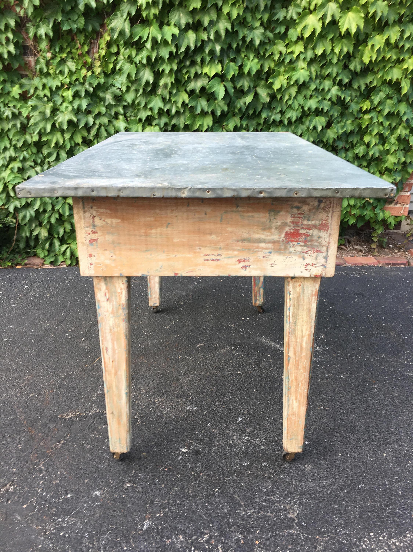zinc top kitchen work table, antique work table, metal top