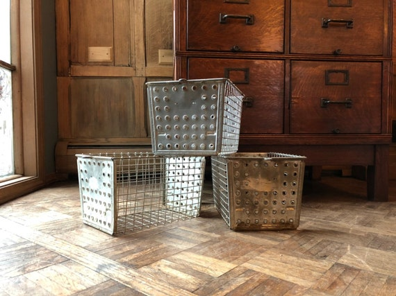 Vintage Wire Baskets, Set Of 3 Gym Locker Basket, Industrial Wire Basket, Storage Baskets, Mudroom Storage