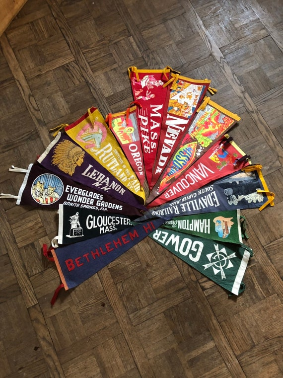 Vintage Pennants, Lot Of 13 Wool Felt Pennant Flags, Souvenir Pennant
