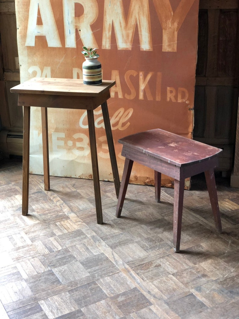 Vintage Side Tables, Set Of Two, Pair Of Staked Tables, Rustic End Table,  Handmade Wooden Occasional Table