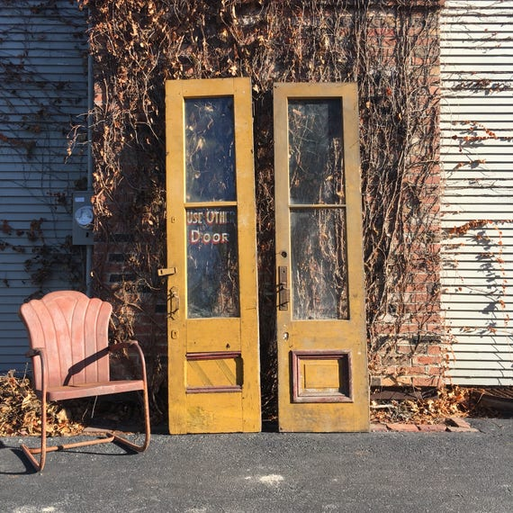Antique Yellow Doors with Ornate Hardware, Hand Painted Use Other Door Sign, Unique Pair of Doors, Antique Barn Door, Architectural Salvage