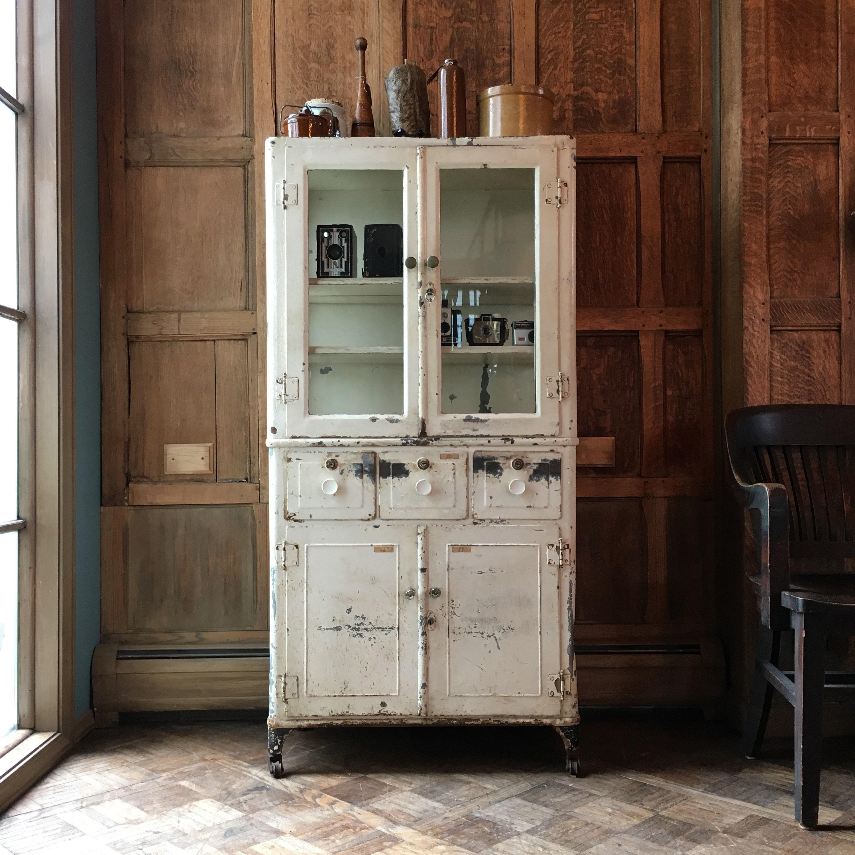 Vintage Medical Cabinet Industrial Medical Cabinet Metal And Glass Cabinet Chippy Cabinet
