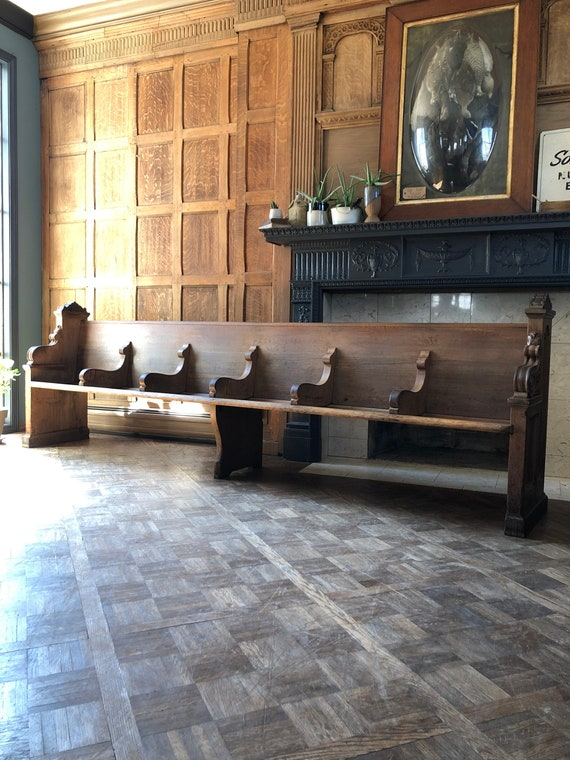 Large Antique Church Pew Bench, 10 Foot Bench, Entryway Bench, Wooden Church Bench, Primitive Bench