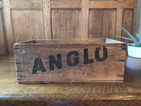 Anglo Roast Beef Shipping Crate, Vintage Wood Crate, Rustic Wooden Crate, Wooden Box, Kitchen Storage