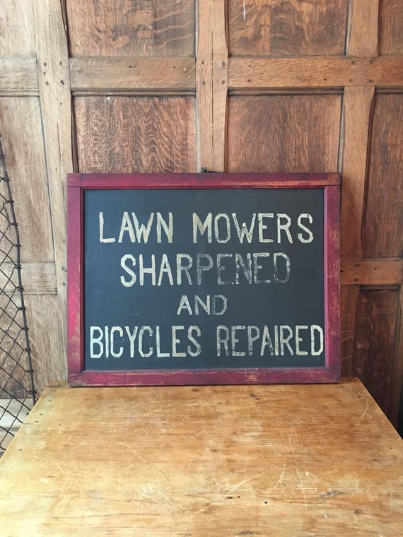 Old Hand-Painted Slate And Wood Sign, Lawn Mowers Sharpened And Bicycles Repaired, Vintage Bicycle Sign, Folk Art Trade Sign