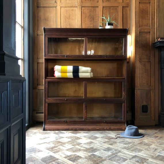 Antique Barrister Bookcase, Lawyers Bookcase, Wood Office Shelving, Entryway Furniture, Vintage Organization Storage, Vintage Oak Shelving
