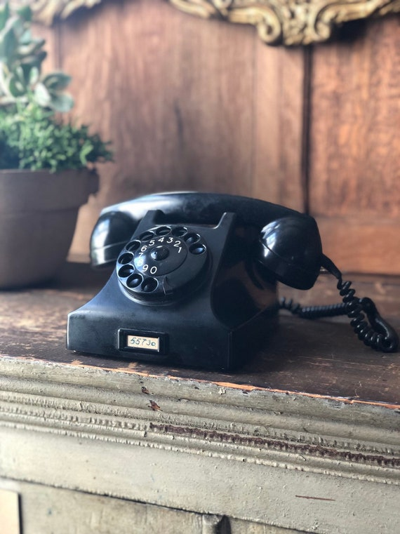 Antique Rotary Phone, Ericsson PTT Desk Top Rotary Telephone, Industrial Steampunk Decor, Made In Holland