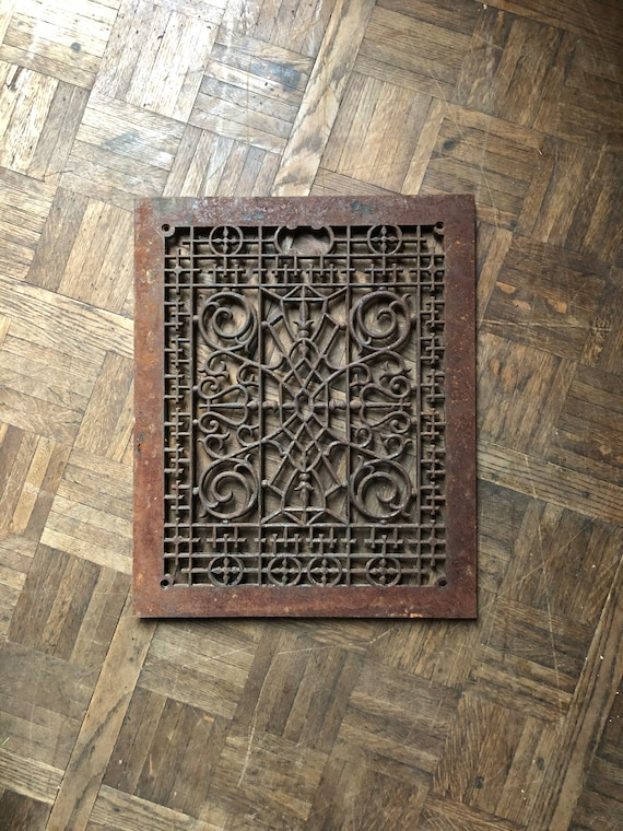 "LARGE Antique Cast Iron Grate, 22"" Cast iron Radiator Grate Cover, Cast Iron Sign, Industrial Wall Decor, Decorative Iron"