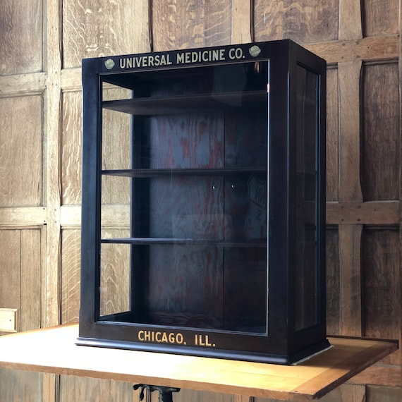 Antique Medical Cabinet Display Case, Industrial Medical Cabinet, Wood and Glass Display Cabinet, Universal Medicine Co. Chicago ILL