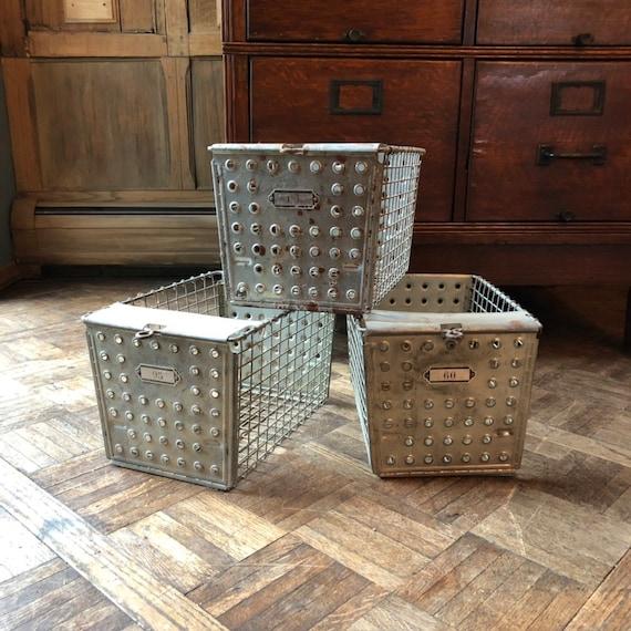 Vintage Metal Baskets, Set Of 3 Gym Locker Basket, Industrial Wire Basket, Storage Baskets, Mudroom Storage Decor