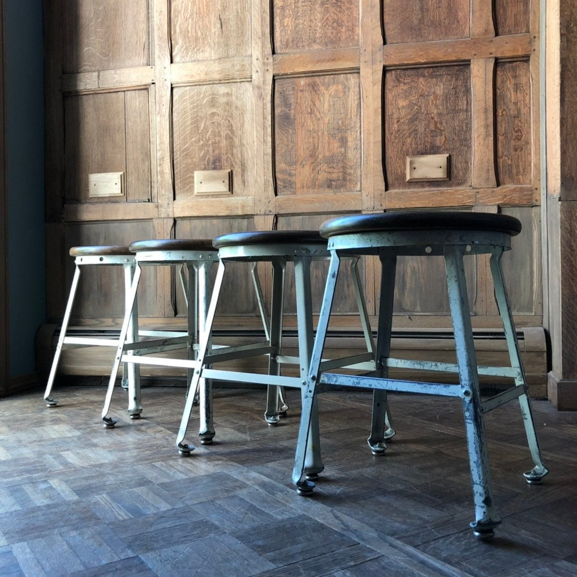 Phenomenal Vintage Industrial Stools Set Of Four Metal Drafting Stool Machost Co Dining Chair Design Ideas Machostcouk
