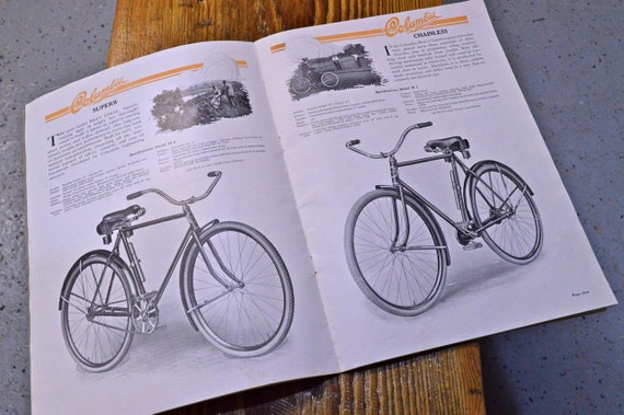 Vintage Columbia Bicycles Sales Catalog, 1920s Bicycle Advertising, Early Bicycle Catalog