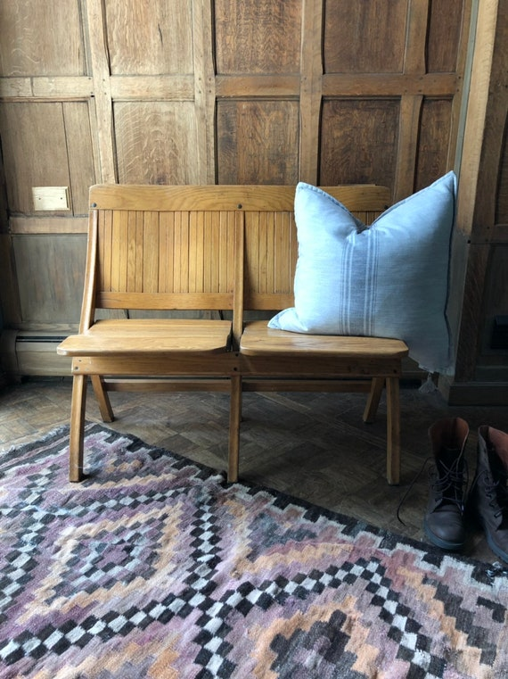 Vintage Theater Seats, Wood Folding Theatre Chairs, Entryway Bench Seating, Church Pew Bench