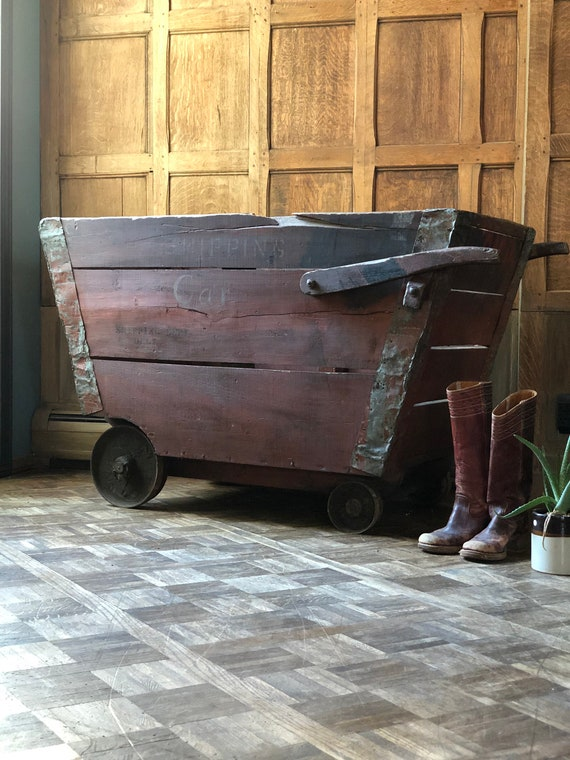 Large Industrial Factory Cart, Shipping Car, Antique Wood Cart, Red Industrial Storage