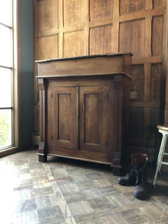 Antique Railroad Desk, Vintage Standing Desk, Standing Work Station, Tall Desk, Railroad Decor, Hostess Stand, Primitive Furniture