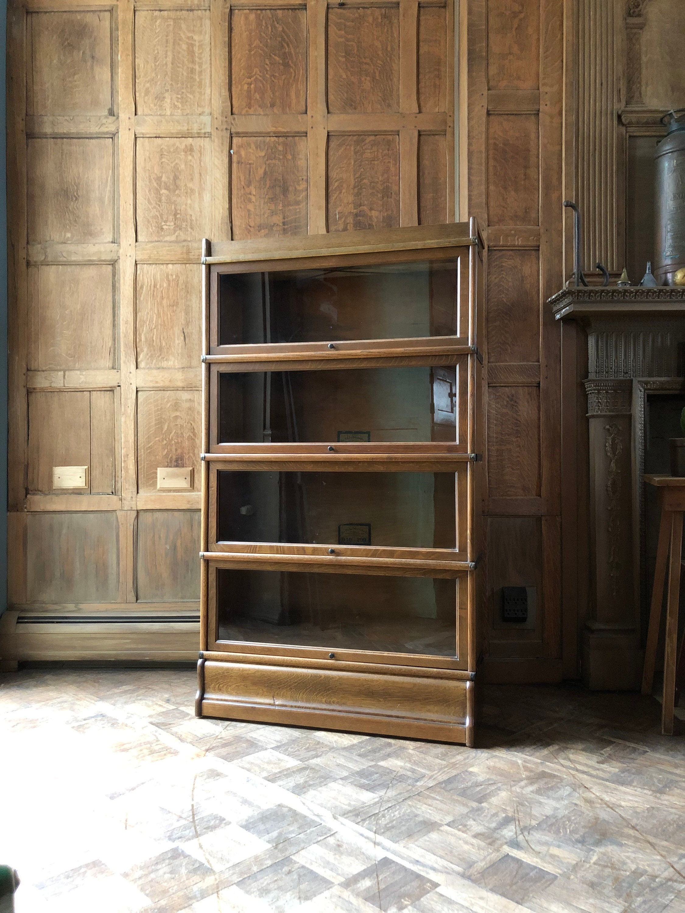 Antique Barrister Bookcase Wood Office Shelving Entryway