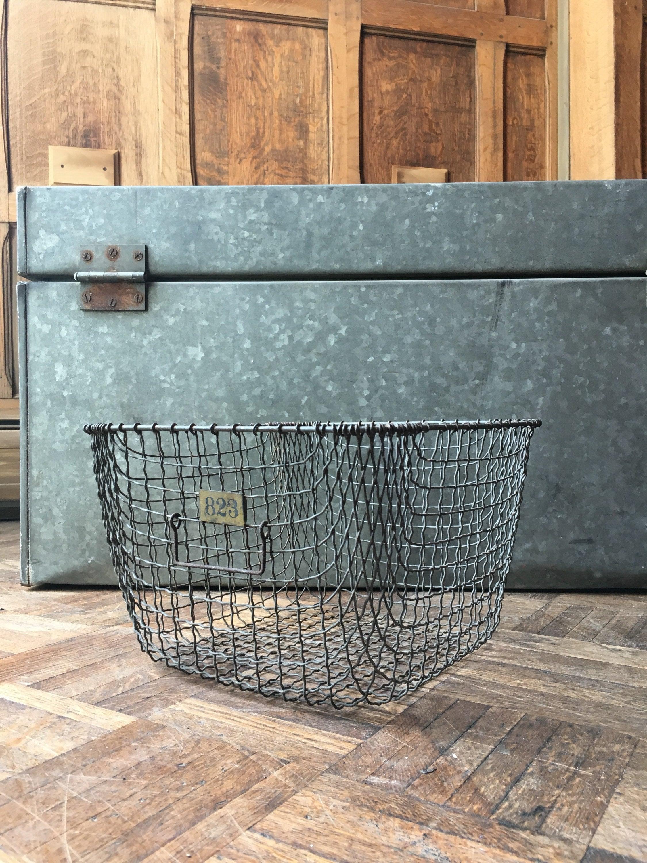Vintage Wire Basket, Gym Locker Basket, Industrial Woven Metal Wire ...