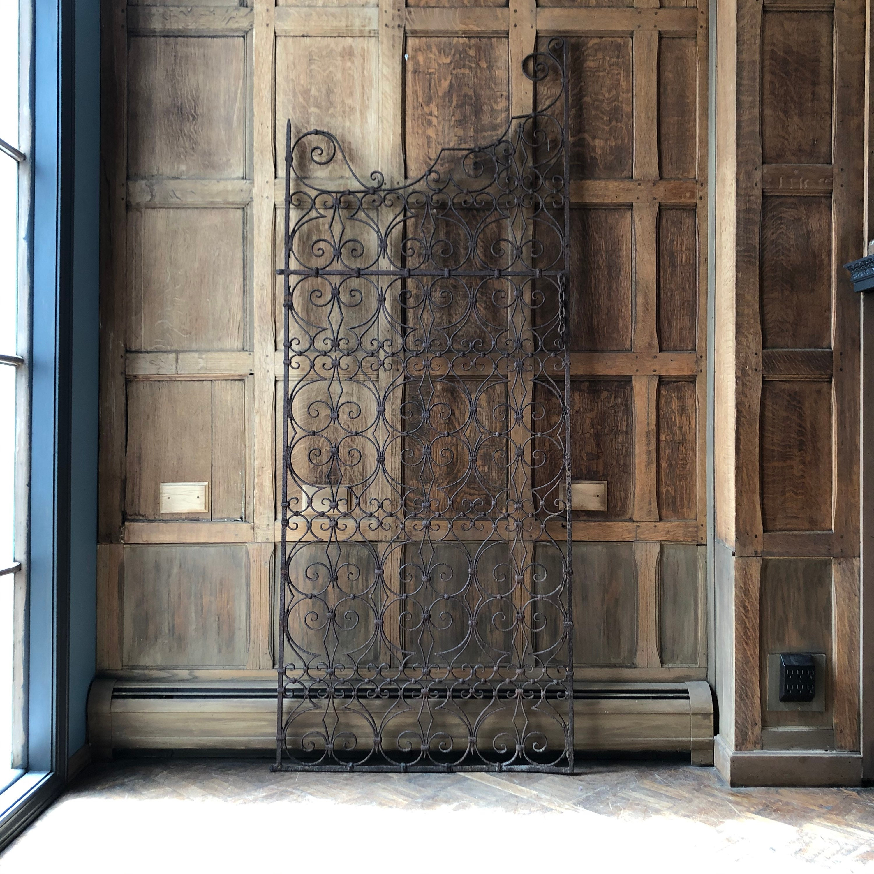 RESERVED - Unmatched PAIR of Antique Wrought Iron Gate ...