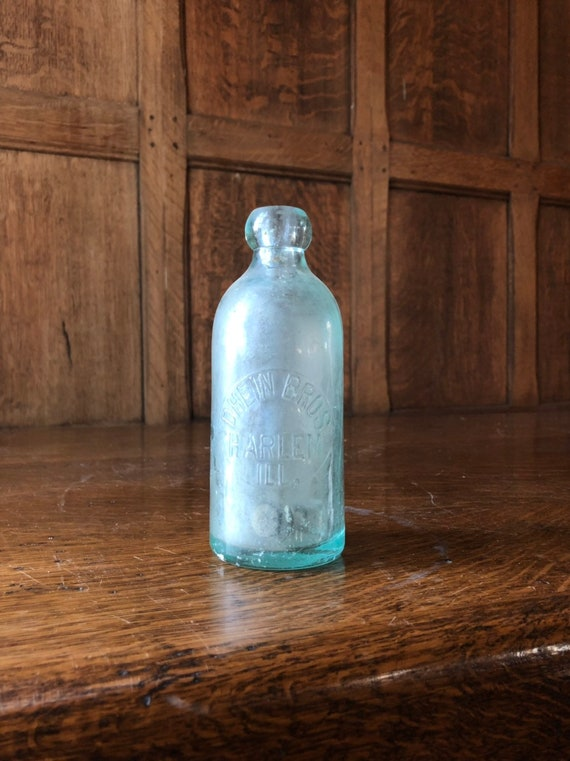 Antique Blob Top Bottle, Blue Glass Bottle, Dhein Bros. Harlem ILL. Rustic Kitchen Home Decor