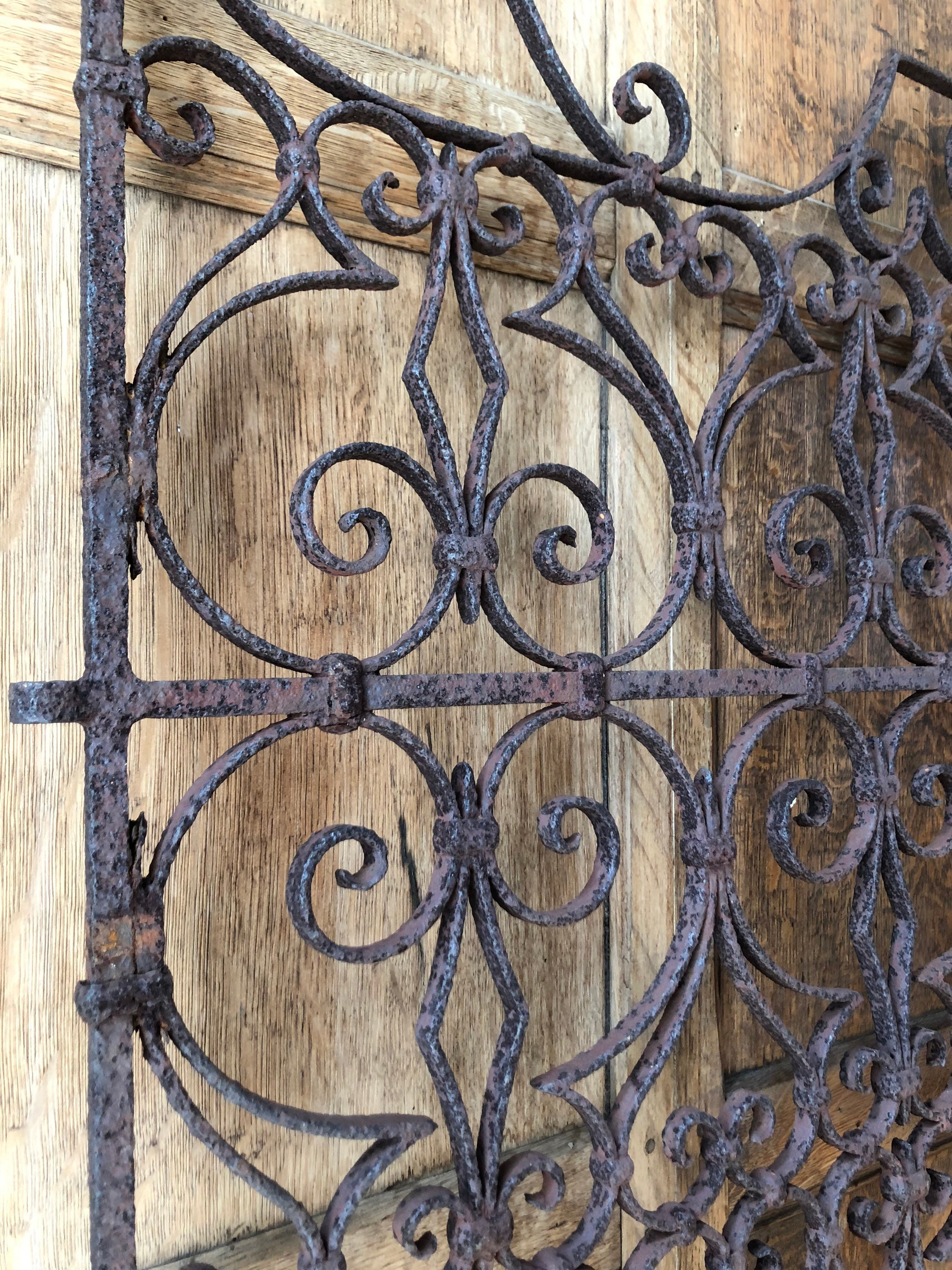 RESERVED - Unmatched PAIR of Antique Wrought Iron Gate, Wrought Iron Wall Decor, Rustic ...