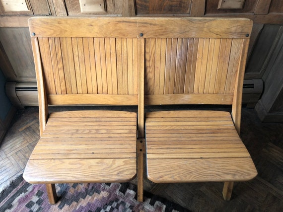 Remarkable Vintage Folding Theater Seats Wood Church Pew Bench Entryway Seating Antique Bench Mudroom Bench Caraccident5 Cool Chair Designs And Ideas Caraccident5Info